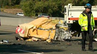 Raw Video: Fatal Crash Involving Caltrans Truck On U.S. Highway 101 In San Jose