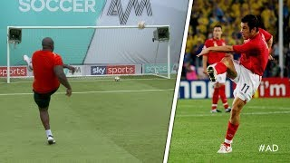 Akinfenwa tries to recreate Joe Cole's INCREDIBLE volley against Sweden! | World Cup Challenge
