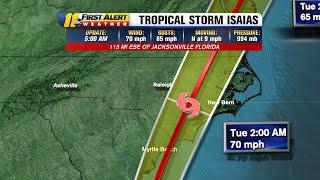 Tropical Storm Isaias moving toward Carolinas