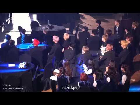 171115 AAA - Seventeen, JBJ, Jung Sewoon, Gugudan react to Monsta X perf (Asia Artist Awards)