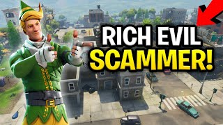 Insanely Rich Squeaker Scams Himself! (130s?) (Scammer Get Scammed) Fortnite Save The World