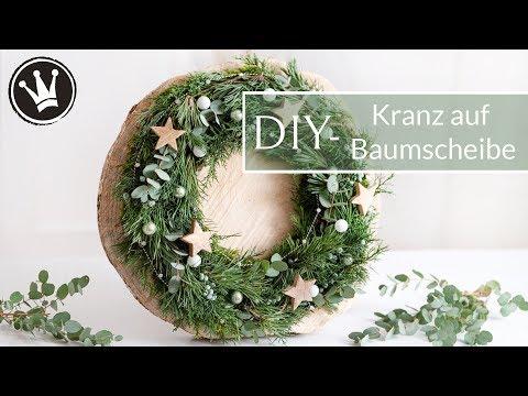 DIY – Weihnachtsdeko | Kranz auf Baumscheibe | Kranz selber machen | Adventskranz | Kranz stecken