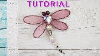 Dragonfly Brooch / Organza wings / Tutorial / DIY