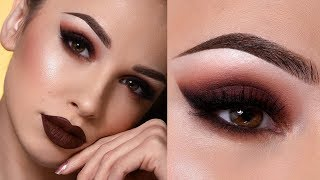 DARK BROWN FALL MAKEUP TUTORIAL | Sultry Smokey Eye & Dark Lips