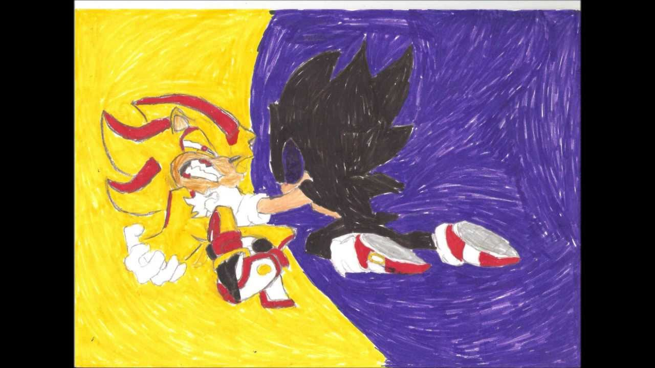 How to draw super shadow vs dark sonic - YouTube
