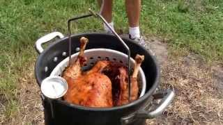 Deep Frying a Whole Turkey! Fried in Peanut Oil at 300°F for 45-50 mins. August 8, 2015