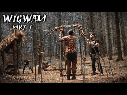 Building a Wigwam with Natural Materials | Bushcraft Shelter (PART 1)