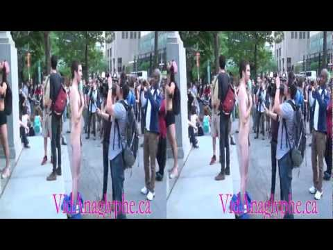 Naked anti-F1 Student demonstration Montreal 3D Full HD anti-F1 montreal 7 juin (part 1)
