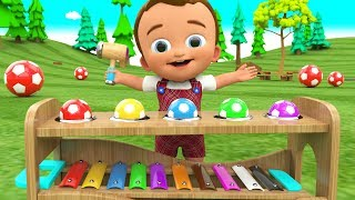 Little Baby Learning Colors for Children with Wooden Hammer SoccerBalls Xylophone Toy Set 3D Kids - YouTube