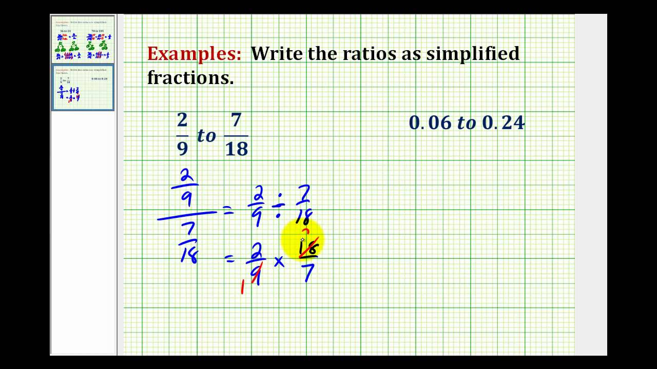 How to write a ratio as a simplified fraction form