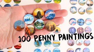 Paintings 100 Pennies - Teeny Weeny Art Challenge