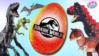 GIANT JURASSIC WORLD EGG WITH DINOSAUR TOYS for Kids! Indoraptor, Carnotaurus