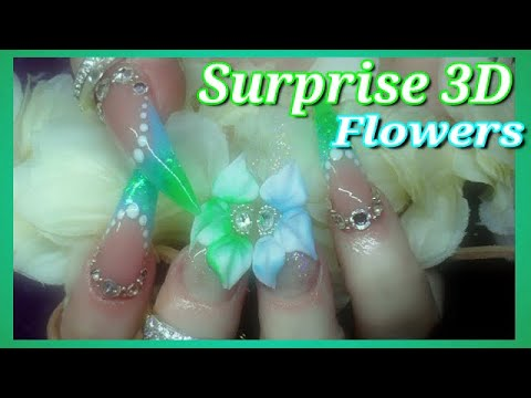 Crystal Pixie Long Acrylic Stiletto Nails & Huge 3D Connecting Flowers On 2 Nails!! | ABSOLUTE NAILS