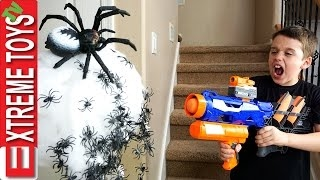 Spider Apocalypse! Wild Toy Spider Attacks Ethan and Cole! Nerf Vs Scary Insect Showdown!