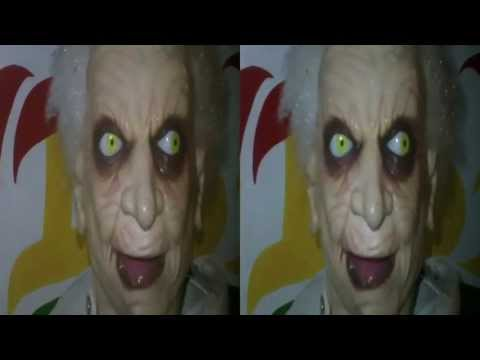Spooky animatronic talking bust beside food truck (YT3D:Enabled=True)