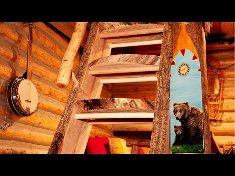 Live Edge Wood Staircase in a Rustic Log Cabin | Working Alone