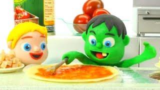 SUPERHERO BABIES COOKING PIZZA ❤ Spiderman, Hulk & Frozen Elsa Play Doh Cartoons For Kids