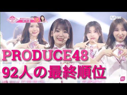 【PRODUCE48】92人の最終順位