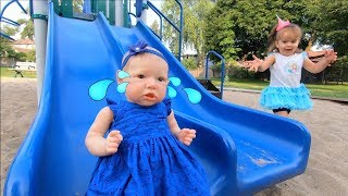 Funny Baby Pretend Play with Crying Baby Dolls at Outdoor Playground Fun Video for Children & Babies