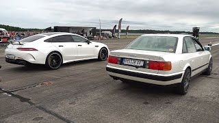 760HP Audi 100 Quattro vs Mercedes-AMG GT63s 4Door vs Nissan GT-R R35