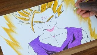 Gohan Super Saiyan 2 Pen Drawing - Dragon Ball Z 185 - DeMoose Art