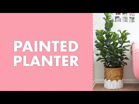 Scalloped Edge Paint Dipped Woven Basket Planter