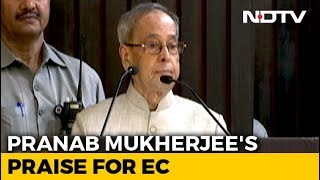 Amid opposition uproar, Ex-President Pranab praises EC..