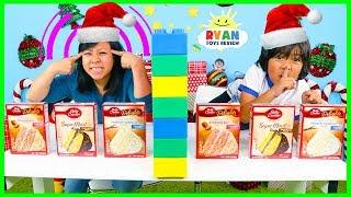 Twin Telepathy Cake Challenge Christmas Edition with Ryan vs Mommy!