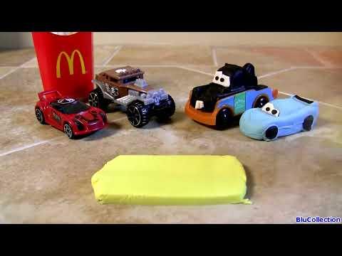 Play Doh Happy Meal Hot Wheels McDonalds Toys - Dinoco Lightning McQueen Mater Пластилін