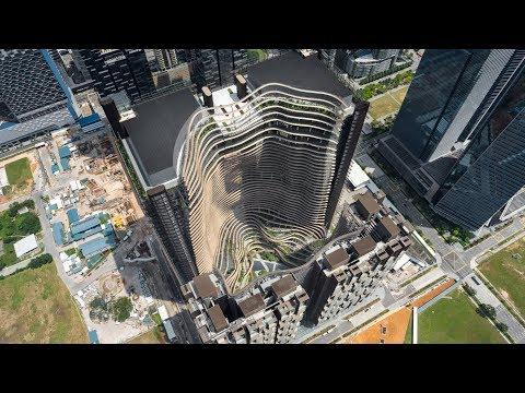 """Multi-storey three-dimensional gardens"" create microclimate at centre of Marina One development"