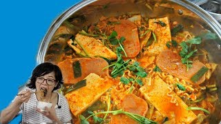 Budae Jjigae ARMY BASE STEW made with SPAM, instant ramen & American Cheese