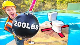 GIANT 200LBS WRECKING BALL VS TOILET!!