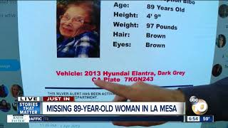 SILVER ALERT: Police searching for woman, 89, missing from her La Mesa home