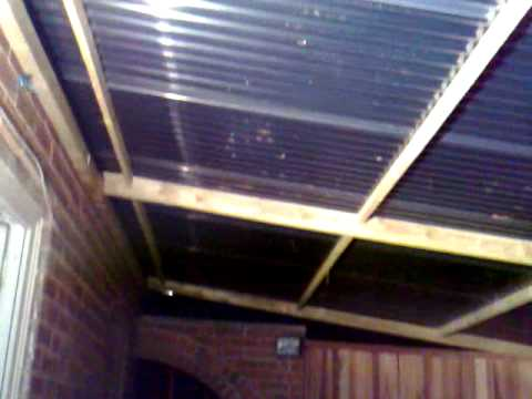 Timber Frame Awning With Clear Corrugated Roof 8x4 5m