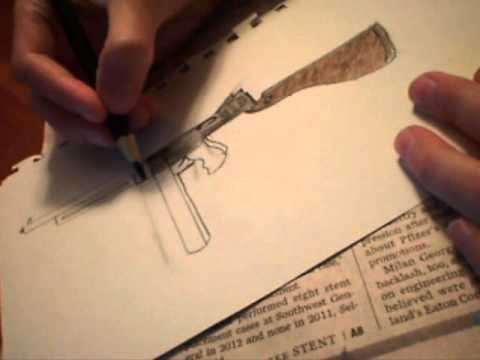 Gun Drawing Step by Step How to Draw a Tommy Gun Part 3