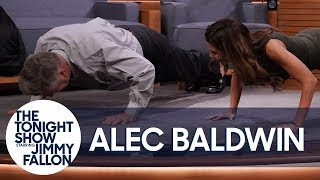 Alec Baldwin Challenges His Wife to a Push-Up Contest