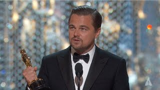 Leonardo DiCaprio winning Best Actor