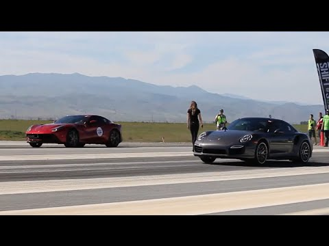 Ferrari F12 vs Porsche 911 Turbo S at Shift-S3ctor Coalinga 2016