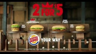 TV Commercial - Burger King 2 For 5$ Mix and Match - Yumbo Hot Ham And Cheese - Taste Is King