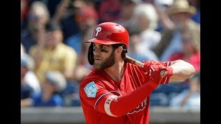 Phillies' Bryce Harper's 1st at-bat after ankle bruise
