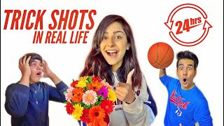REAL LIFE TRICK SHOTS FOR 24 HOURS PART 2 | Rimorav Vlogs