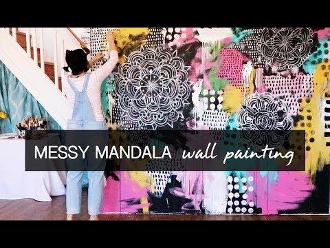 messy mandala wall painting