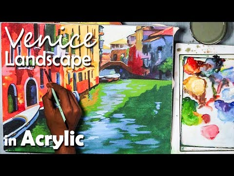 A Venice Landscape in Acrylic on Canvas | step by step painting
