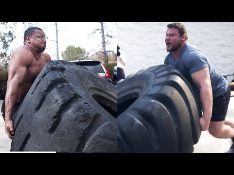 FIRST TIME FLIPPING TIRES LARRYWHEELS 1100LB TIRE