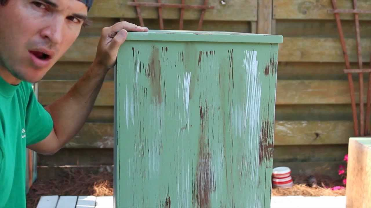 how to paint distress antique furniture project 1 painted green refinished and distressed. Black Bedroom Furniture Sets. Home Design Ideas