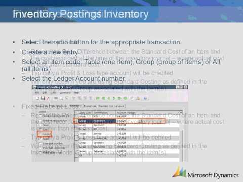 Dynamics AX 2009 Inventory Postings Setup