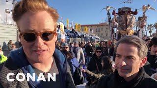 Behind The Scenes: Conan & Jordan Schlansky At Carnevale In Italy