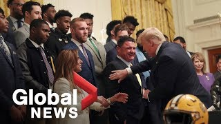 Trump welcomes U.S. College Football champion LSU Tigers to White House