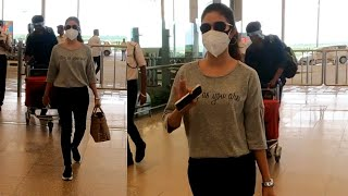 Keerthy Suresh spotted at Hyderabad airport with stylish l..