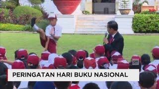 Santainya Presiden Jokowi saat Bercengkrama dengan Siswa  - Hari Buku Nasional di Halaman Istana